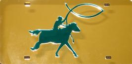 Christian Cowboy Blue on Gold Mirror License Plate
