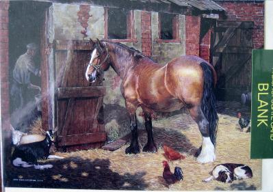 Horse in farmyard