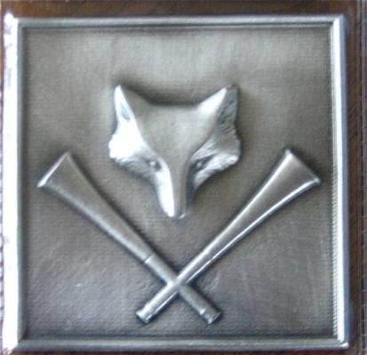Pewter Decorator Tile Fox and Horn