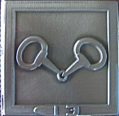 Pewter Decorator Tile Snaffle Bit Design.