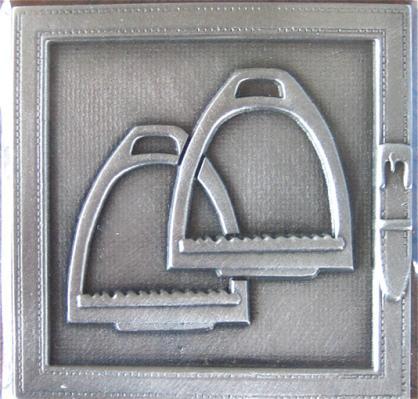 Pewter Decorator Tile Stirrups Design.
