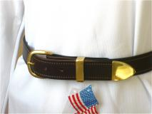 Brown Leather Stitched Belt with Brass