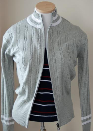 Kyra K. Vera Fine Gauge Cable Knit Cotton Sweater