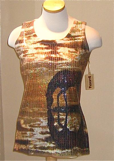 Sequin Tank TShirt. Reflective Horses