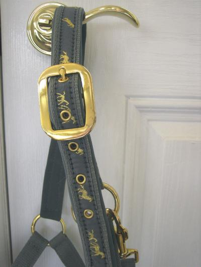 Halter in French Blue with Embossed Horse Design in Gold